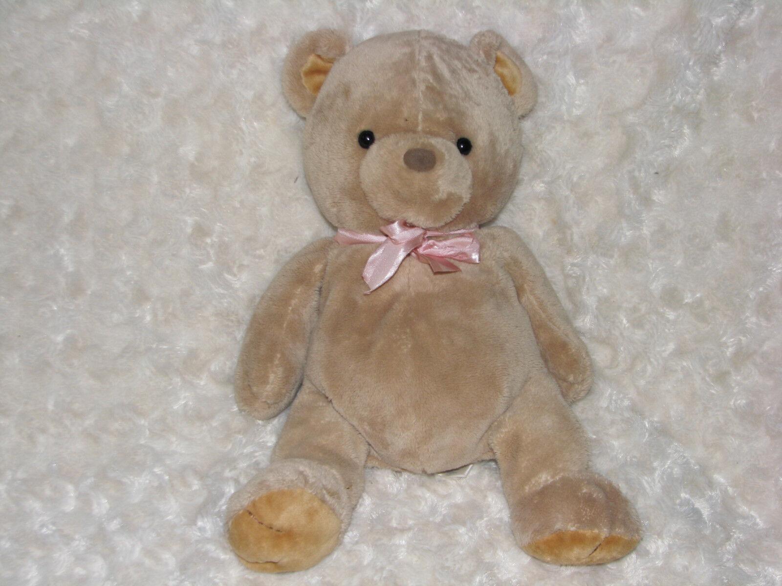 PRESTIGE STUFFED PLUSH TEDDY BEAR BROWN TAN PINK RIBBON BOW BEANS GIRL BABY 12
