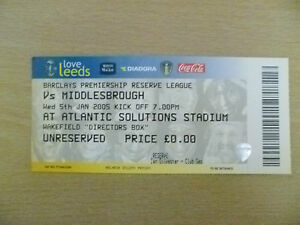 Tickets Reserve League 2005 LEEDS UNITED v MIDDLESBROUGH 5th Jan Org Exc - London, United Kingdom - Tickets Reserve League 2005 LEEDS UNITED v MIDDLESBROUGH 5th Jan Org Exc - London, United Kingdom
