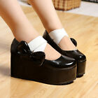 New Womens High Platform Wedge Heel Creeper Bow Lolita Creeeper Mary Jane Shoes