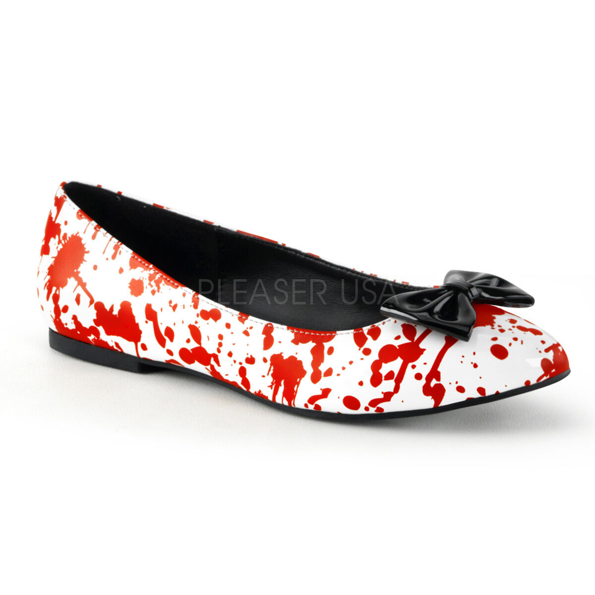 Bloody Pointed Toe Flats Nurse Zombie Gory Halloween Costume White Red shoes