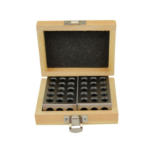 Wooden Case 2PC 1 2 3 Metal Blocks 23 Holes Milling Drilling Machining Precision
