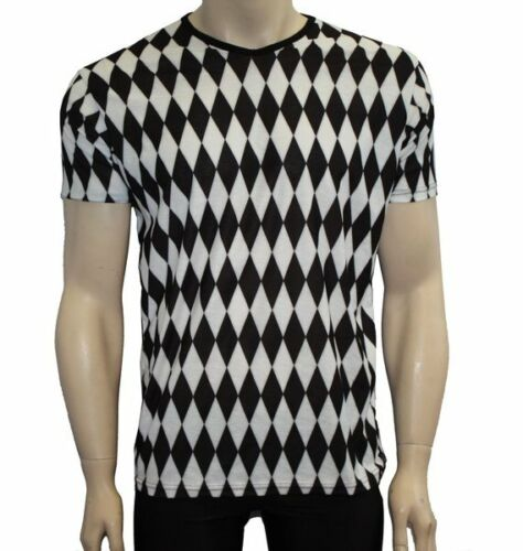 Men/'s Black And White Harlequin Diamonds Print V-Neck T-Shirt Top Goth Punk Emo