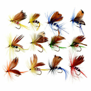 12pcs-Various-Dry-Fly-Hooks-Fishing-Trout-Flies-Hook-Lures-Tackle-Tool-Kit-New