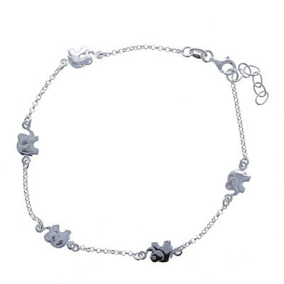 925 Sterling Silver Polished Open Link w// Shell Charm Bracelet Anklet 10 inches