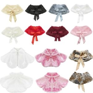 Girls-Kids-Warm-Winter-Shawl-Cape-Bridal-Jacket-Wrap-Faux-Fur-Shrug-Bolero-Coat