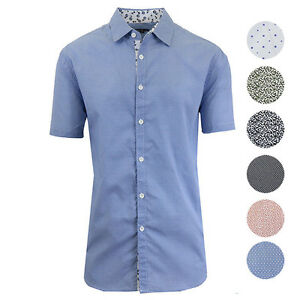 Galaxy by Harvic Mens Patterned Button Down Slim Fit Short Sleeve Shirt