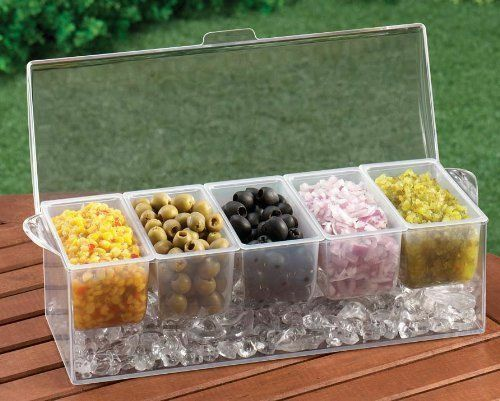 2 CHILLED Condiment Server Caddy Holder Dispenser Container Cooler Bar 5 Trays