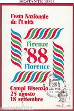 ITALIA MAXIMUM MAXI CARD FESTA NAZ. L'UNITà FIRENZE 1988 CAMPI BISENZIO FI B112