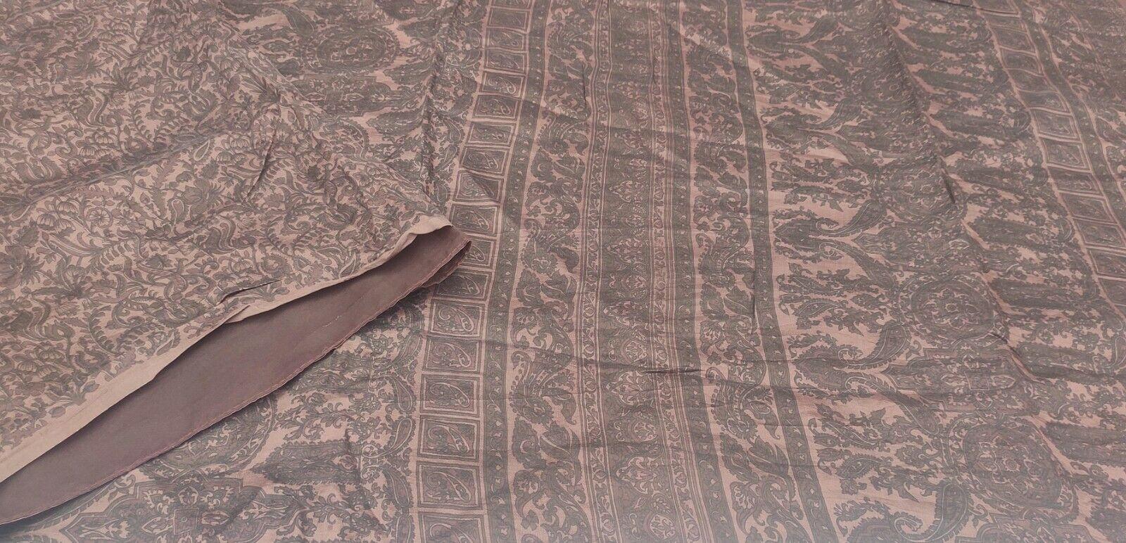 Dev Vintage Saree Pure Silk Printed Used Ethnc Floral Craft Sari Fabric DG-1223