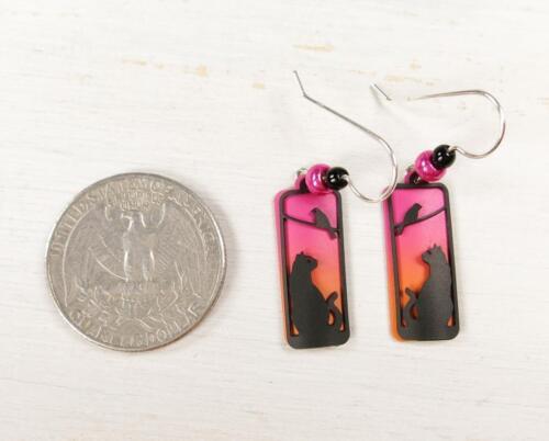 Sienna Sky Earrings Sterling Silver Hook Cat Bird on Tree Silhouette in Sunset