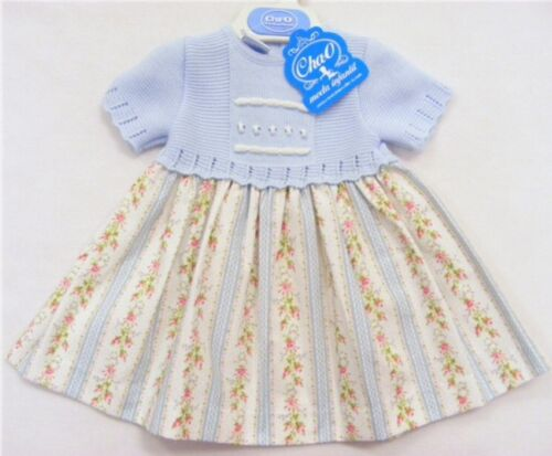 Spanish//Romany Blue Knitted Top Striped Rose Dress 12 Months BNWT