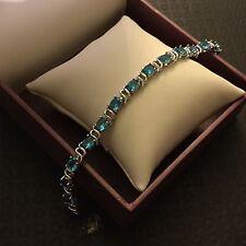 "GB Aquamarine oval gems white gold filled bracelet 7.5""/19cm x 6mm BOXED Plum UK"