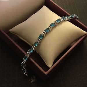 GB-Aquamarine-oval-gems-white-gold-filled-bracelet-7-5-034-19cm-x-6mm-BOXED-Plum-UK