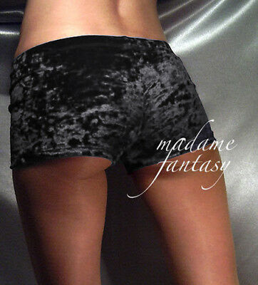 MADAME FANTASY CRUSHED VELOUR SHORTS HOT PANTS SUSPENDERS RED XS-XXXL