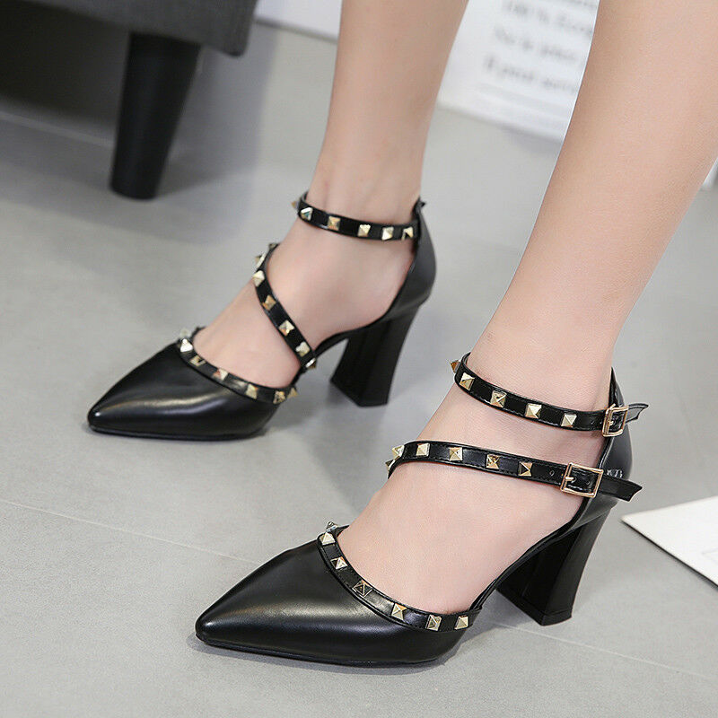 Sandaleei 7 cm eleganti  nero borchie tacco quadrato Sandaleei simil pelle 1129