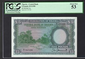 Nigeria-Central-Bank-5-pounds-15-9-1958-D-1-597199-Pick-5a-034-About-New