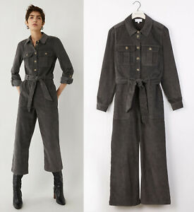 Warehouse-NEW-Retro-Cord-Belted-Long-Sleeve-Boilersuit-Jumpsuit-in-Grey-6-to-16