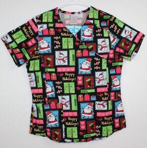 05eaf280c91 Scrubstar Women's Scrub Top Size XS Christmas 2 Front Pocket V-Neck ...