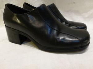 f2b880085457 Clarks Black Leather Chunky Platform Pumps Heels Slip Loafers Womens ...