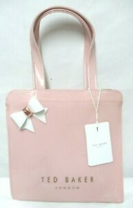 Ted-Baker-small-Icon-pink-w-white-Bow-tote-bag-purse-PVC-shopper-NEW-NWT