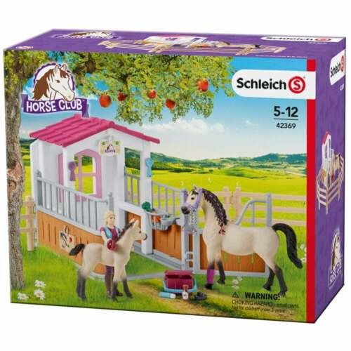 Schleich Horse Club Cheval étable avec arabes Chevaux Groom figurine et accessoires