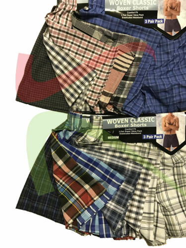 Men/'s Poly Cotton Assorted Classic Woven Boxer Shorts Underwear Pants 6 12 PAIRS