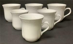 6 Fantasia Coffee Cups Totally Today 3 Large 3 small Creamy White embossed mugs
