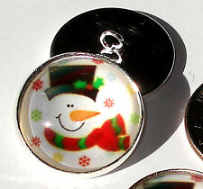 "Christmas Snowman Red Scarf Glass Dome Button 3/4"" handcrafted collectible shank"