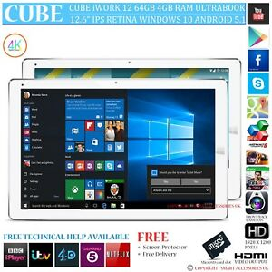 Details about CUBE iWORK 12 64GB 4GB RAM DUAL OS WINDOWS 10 ANDROID 5 1  TABLET PC OPTIONAL 4G