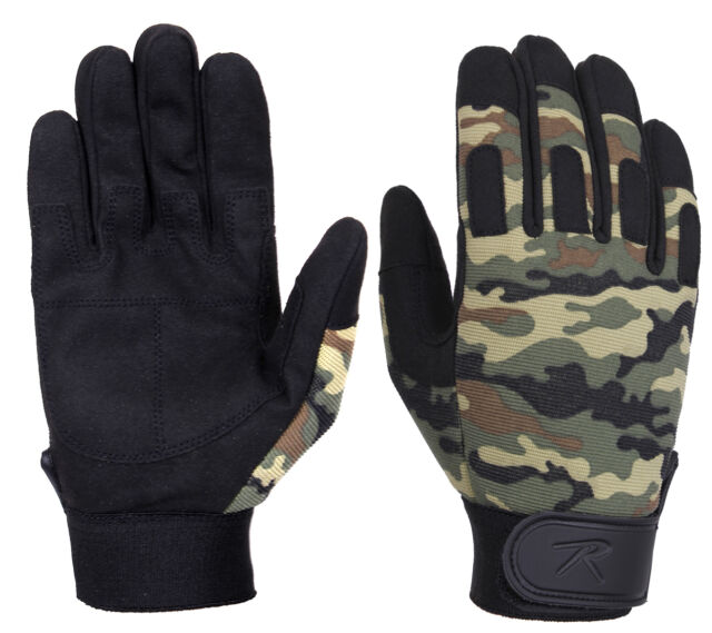 military duty gloves woodland camo lightweight tactical rothco 4429