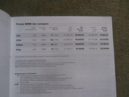 BMW 316i 323ti 318tds 316g E36//5 Preisliste Compact 3//2000+Edition pricelist