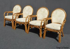 Image Is Loading Four Vintage Tiki Palm Beach White Bentwood Dining