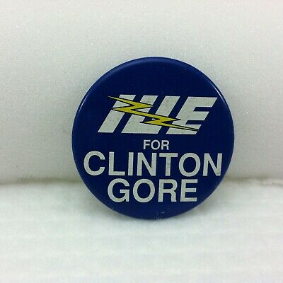 "Clinton Gore fr New Leadership 1992 Political 3/"" Button with union logo Look!"