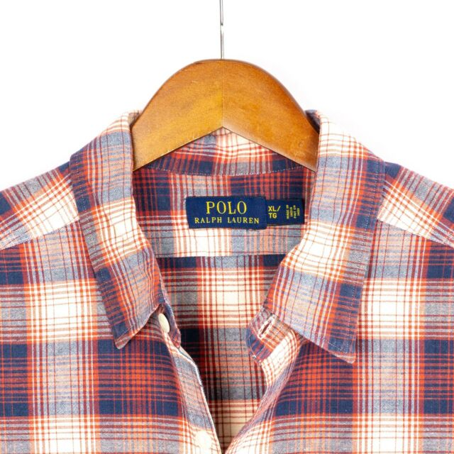 Polo Ralph Lauren Mens Size XL Red Blue White Plaid Button Front Long Sleeve
