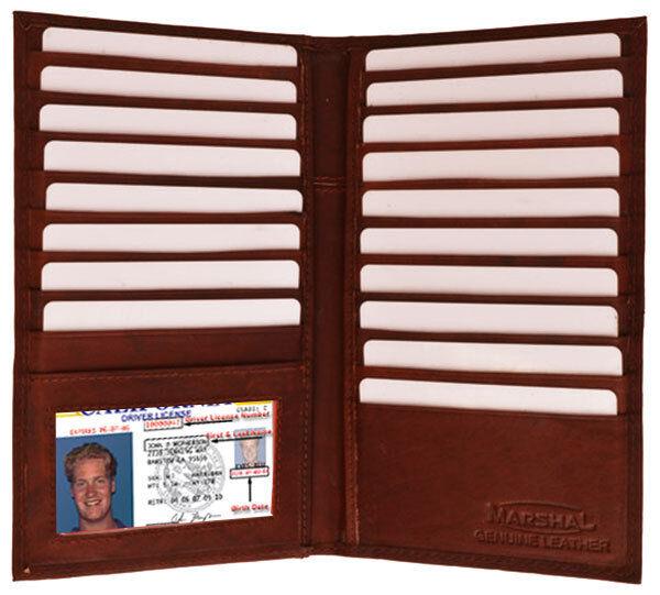 Brown Leather Mens Secretary Wallet 19 Card ID Checkbook Organizer Holder