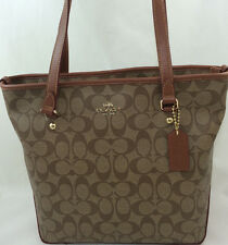 New COACH F34603 F58294 Zip Top Tote Handbag Purse Shoulder Bag Khaki/Saddle
