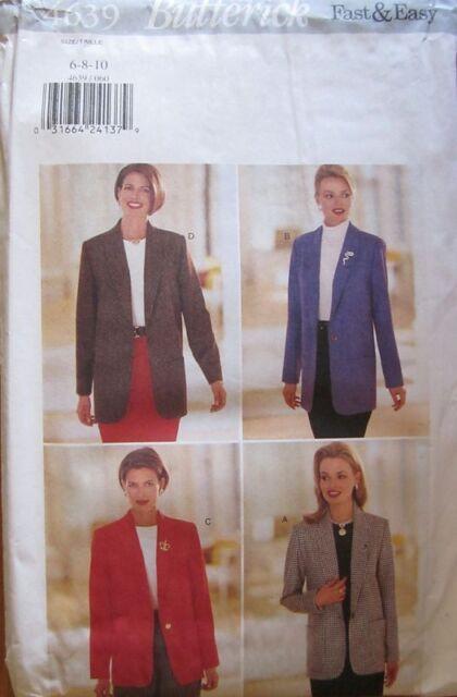 Blazer Jacket Misses Size 18-22 Butterick 4639 Sewing Pattern   eBay
