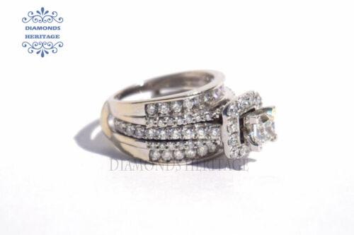 3Ct Princess Cut Diamond Enhancer Guard Wrap Engagement Ring 14k White Gold Over