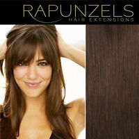 """16"""" 20"""" 24"""" medium brown 4 remy human hair extensions weave weft braid clip in"""