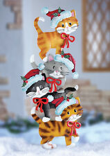 """Purr-fect""  Stack of Kitty Cats Metal Christmas Outdoor Yard Decor"