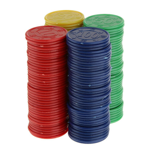 160 Plastic Poker Chips Red Green Blue Yellow Casino Cards Game Party PROP