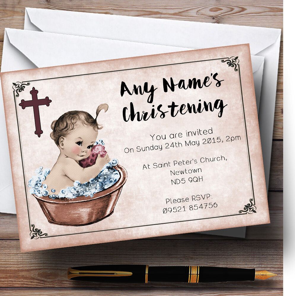 Vintage Baby Girl In In In Tub Personalised Christening Invitations