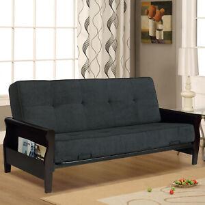 Futon Sofa Bed Set Wood Storage Arm
