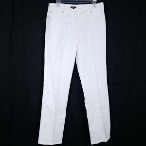ESCADA-Women-039-s-size-40-Straight-Leg-White-Jeans-Embossed-Pattern-Gold-Hardware