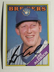 1988 Topps Jay Aldrich Autograph Card Brewers, Braves, Orioles Auto, Signed #616