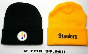 READ-LISTING-Pittsburgh-Steelers-HEAT-SET-Flat-Logos-on-2-Beanie-Knit-Cap-hat
