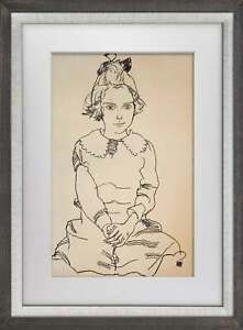 """Egon SCHIELE Lithograph SIGNED LIMITED Ed """"Seated Girl (Maria Steiner)"""" w/FRAME"""