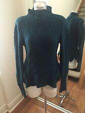 BCBG MAX AZRIA Teal Green Asymmetrical Knit Pattern High Neck Sweater Size S Ret