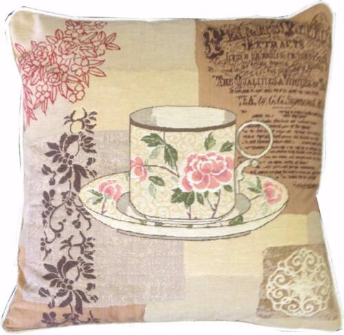 Choix thés Floral Tasse à thé Tissé Tapisserie Housse de Coussin Sham