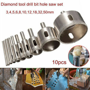 10 Pcs 3-50mm Diamond Tool Drill Bit Hole Saw Cutter Glass For Tile Marble Glass